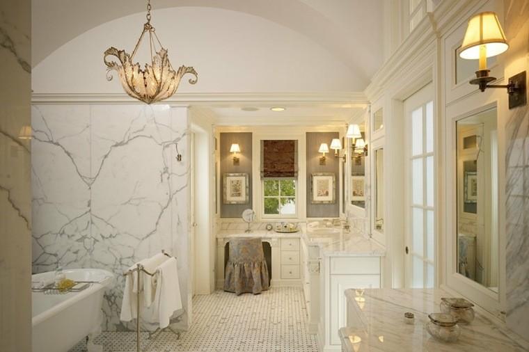 cuartos bano marmol lujoso lamaparas ideas