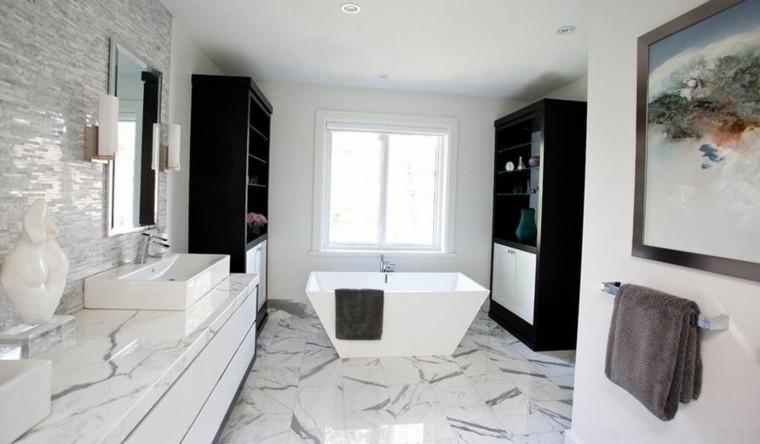 cuartos bano marmol muebles negros ideas