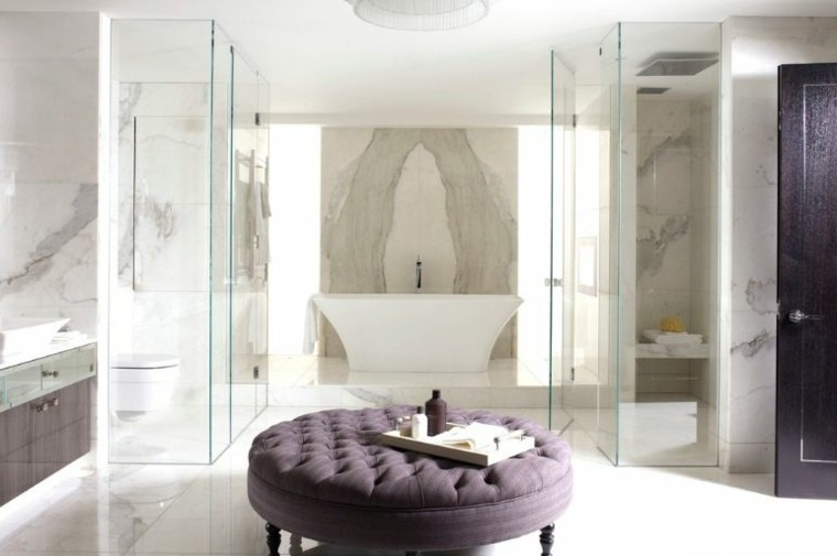 cuartos bano marmol otomana purpura redonda ideas