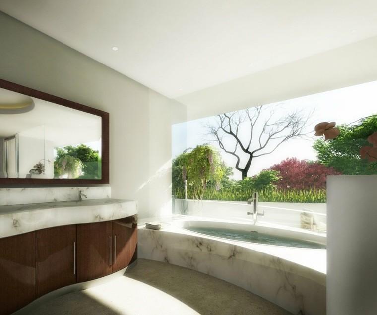 cuartos bano marmol zen maceta grande ideas