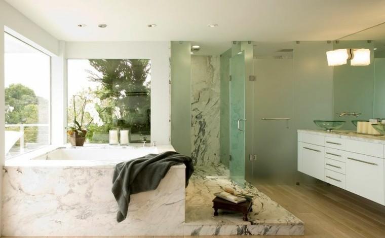 cuartos de baño marmol banera grande lavabo blanco ideas