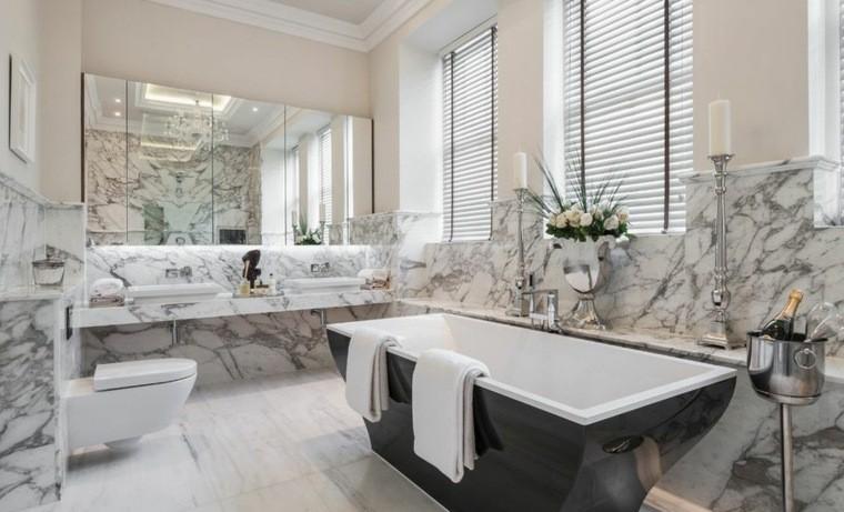 cuartos de baño marmol banera negra ideas