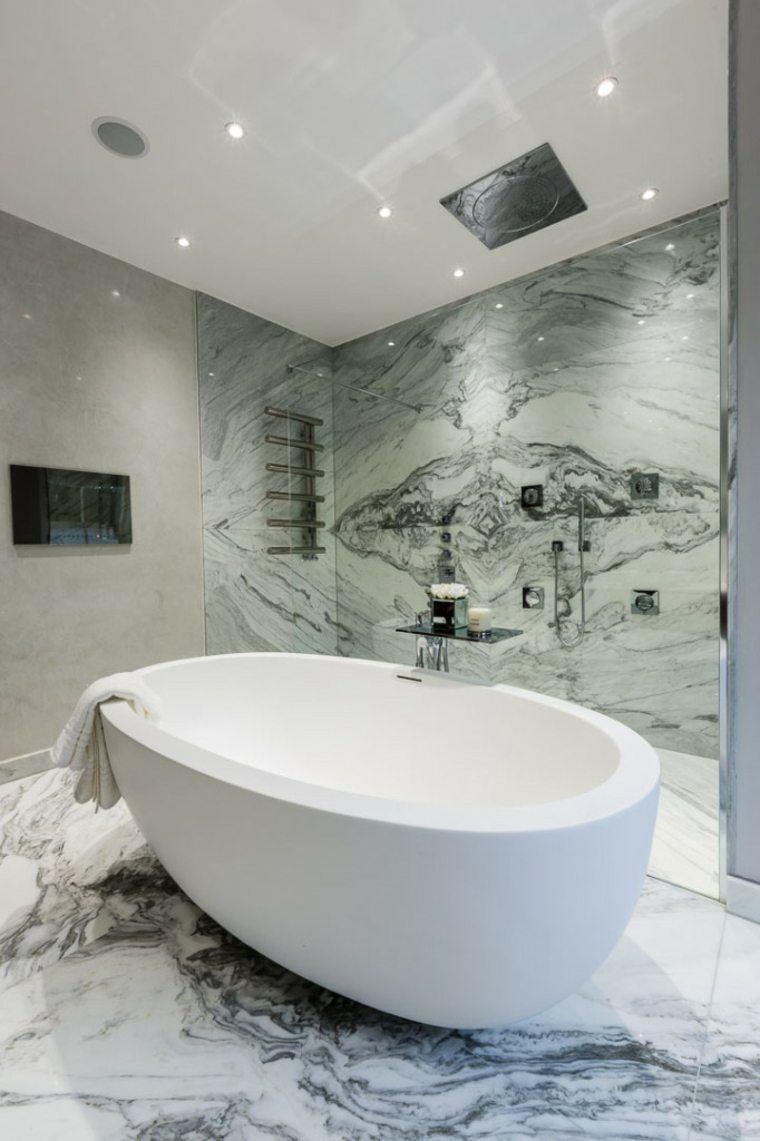 cuartos de baño marmol banera pequena ideas