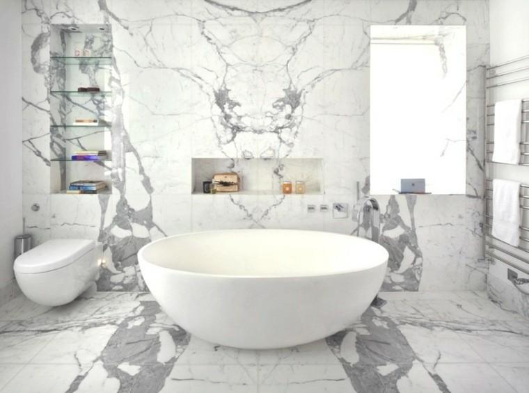 cuartos de bano marmol banera redonda blanca ideas