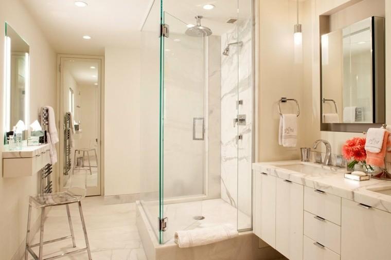 Cuartos de ba o marmol lujoso en suelo y paredes for Marmol travertino para banos