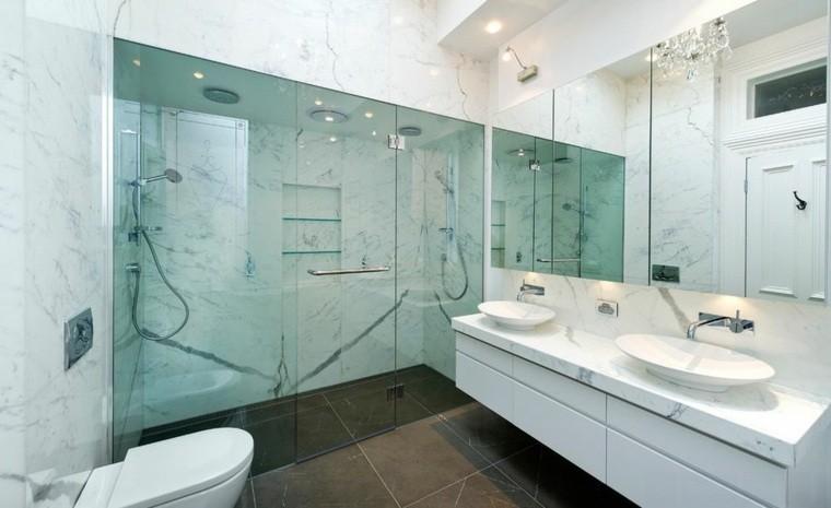cuartos de baño marmol ducha mampara cristal ideas