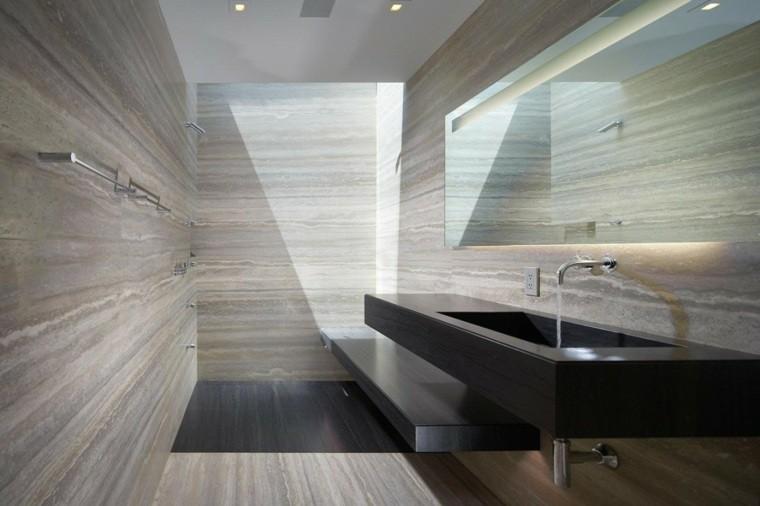 Cuartos de ba o marmol lujoso en suelo y paredes for Espejos grandes para cuartos