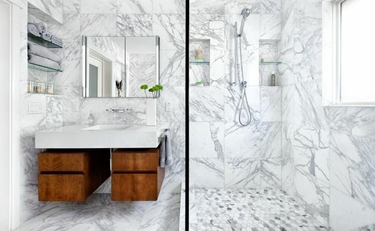 cuartos de baño marmol espejo pequeno ideas