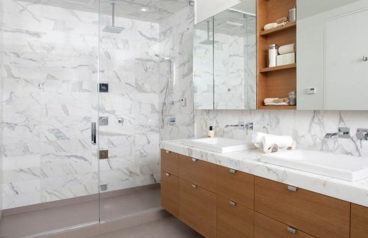 cuarto de baño marmol lavabo madera armarios ideas
