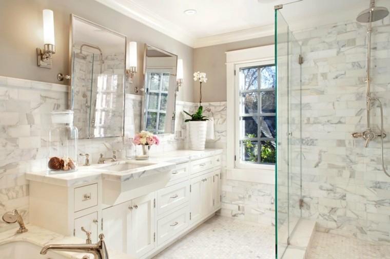 cuartos de bano marmol lavabo madera blanca ideas