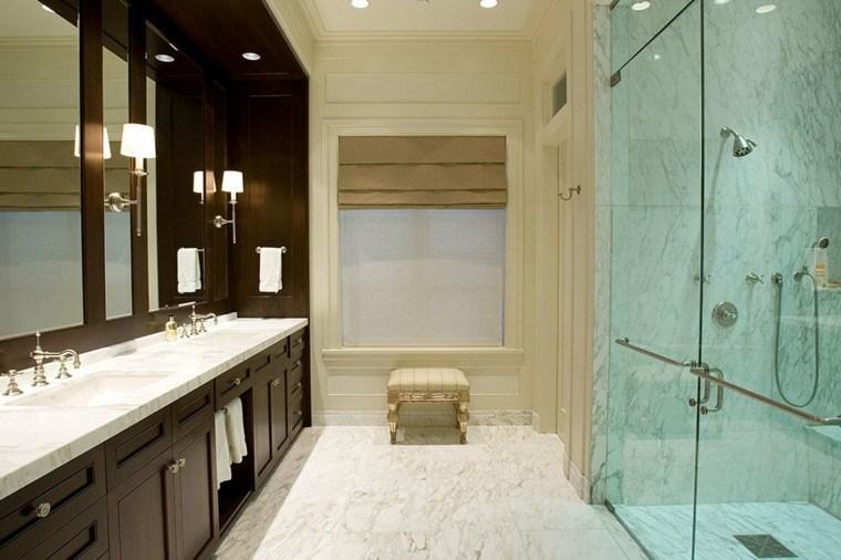 cuartos de baño marmol lavabo madera ideas