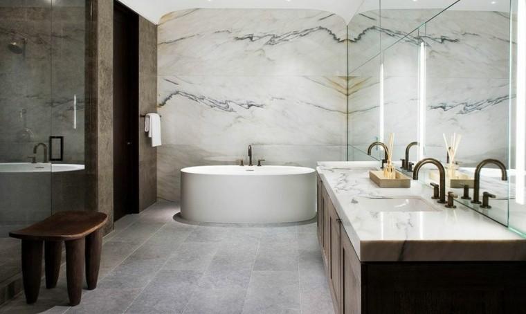 cuarto de bano marmol lavabo negro madera ideas