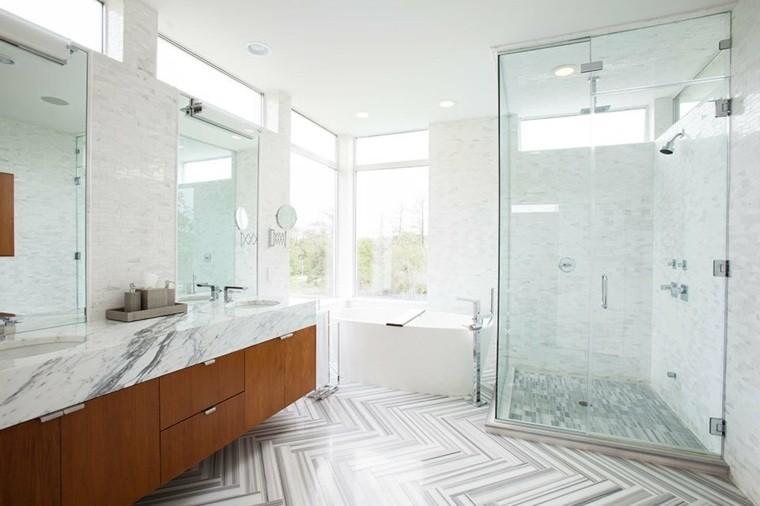 cuartos de bano marmol mampara ducha ideas