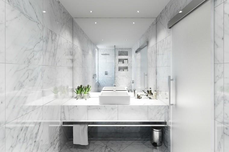 cuartos de bano marmol muebles blancos ideas