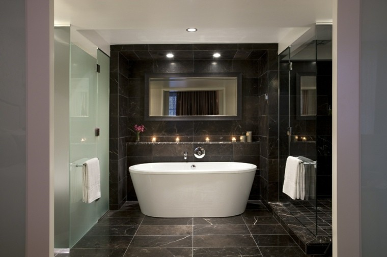 cuartos de bano marmol negro ducha ideas
