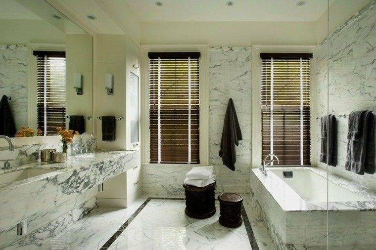cuartos de bano marmol taburetes estores ideas