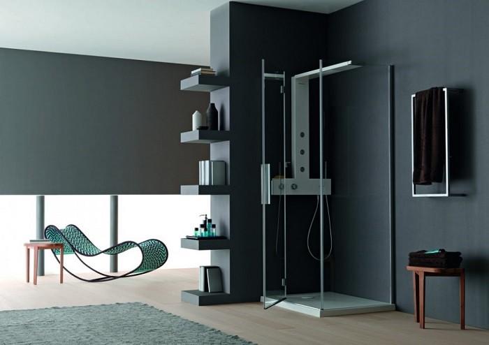 cuartos de bano modernos ducha estantes ideas