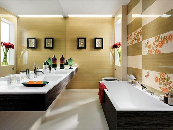 cuartos de baño modernos losas estampa floral ideas