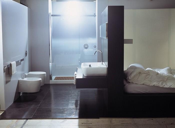 cuartos de baño modernos losas marron oscuro ideas