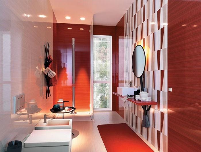 cuartos de baño modernos losas rojas ideas