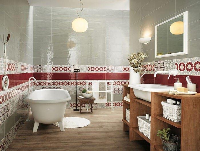 cuartos de baño modernos losas rojo blanco ideas