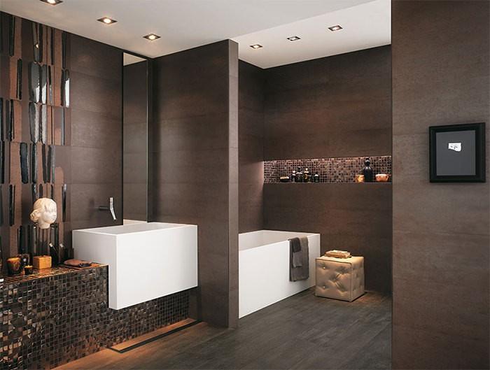 cuartos de bano modernos mosaico marron ideas