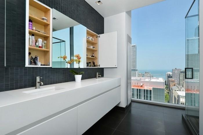 cuartos de bano modernos mosaico negro pared ideas