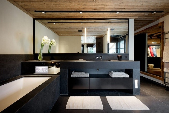 cuartos de bano modernos muebles negros flor ideas