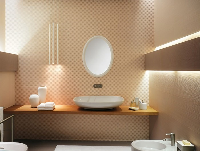 cuartos de bano modernos pared color beige ideas