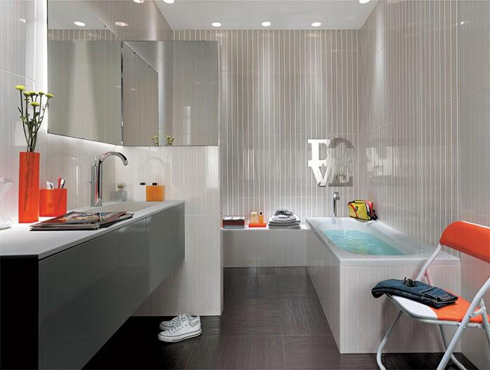cuartos de bano modernos toques naranja ideas