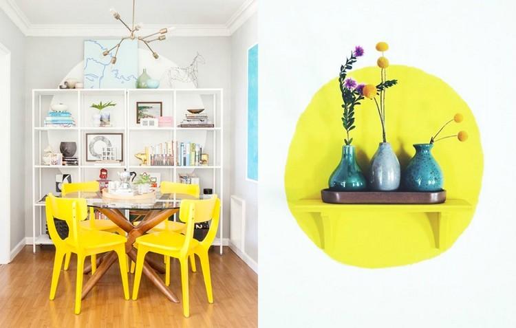 decorar pared circulo amarillio