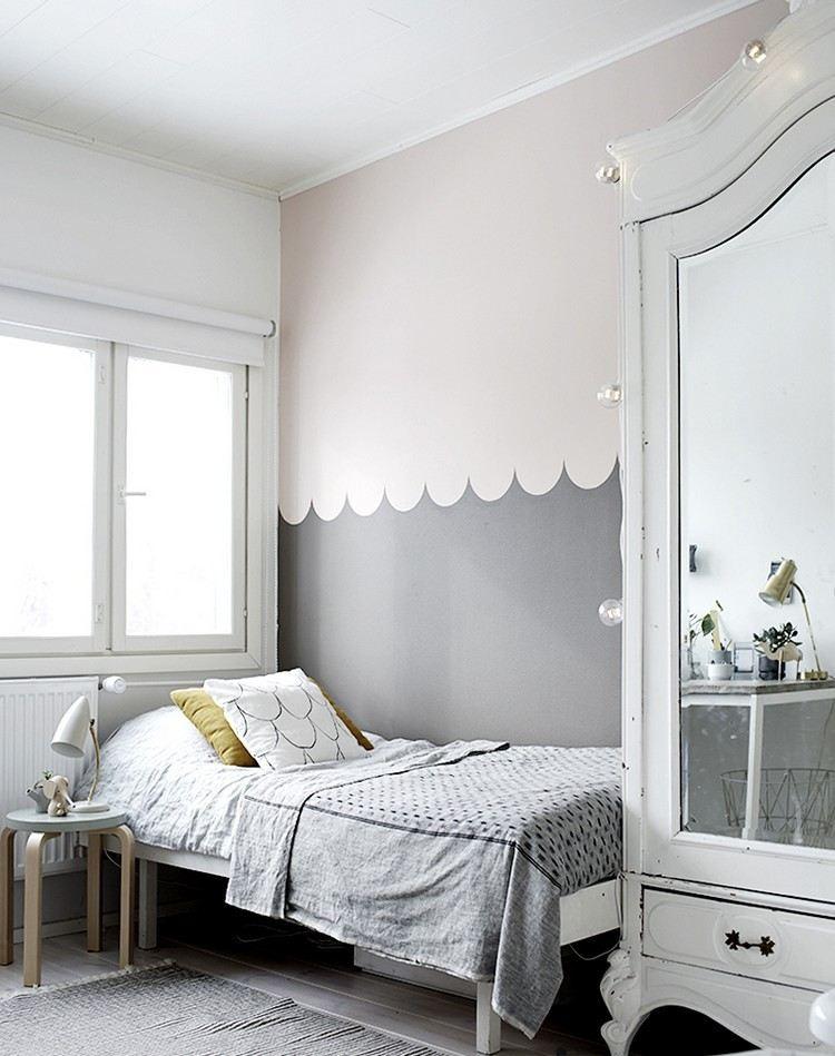 decoración de pared rosa gris