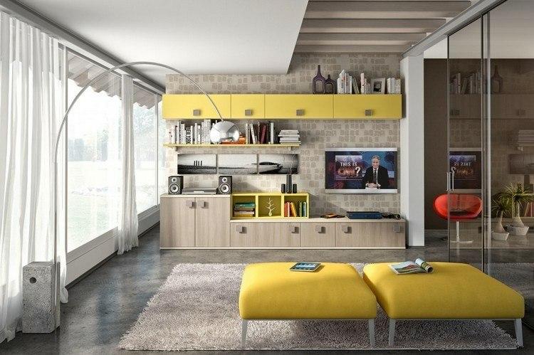 estanterias modulares de dos colores decorar salon estantes amarillos