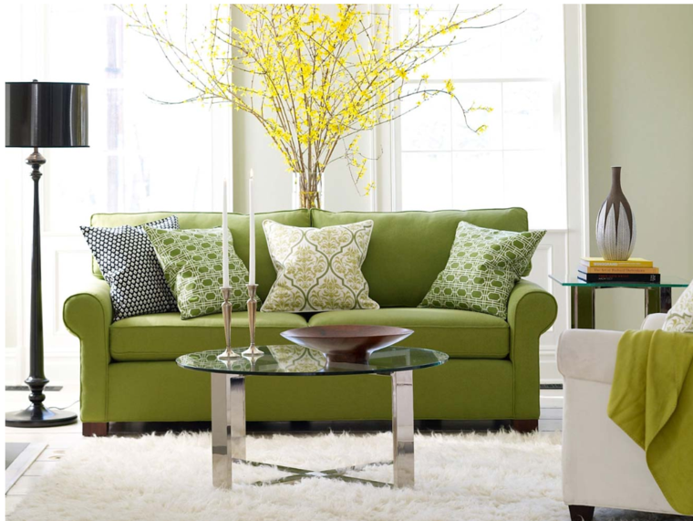 deco salon sofa color verde