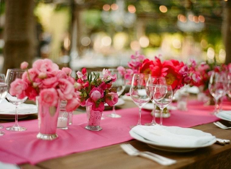 decorar mesa color rosa