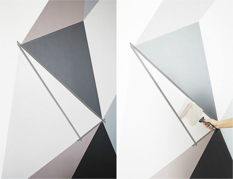decorar paredes triangulos gris