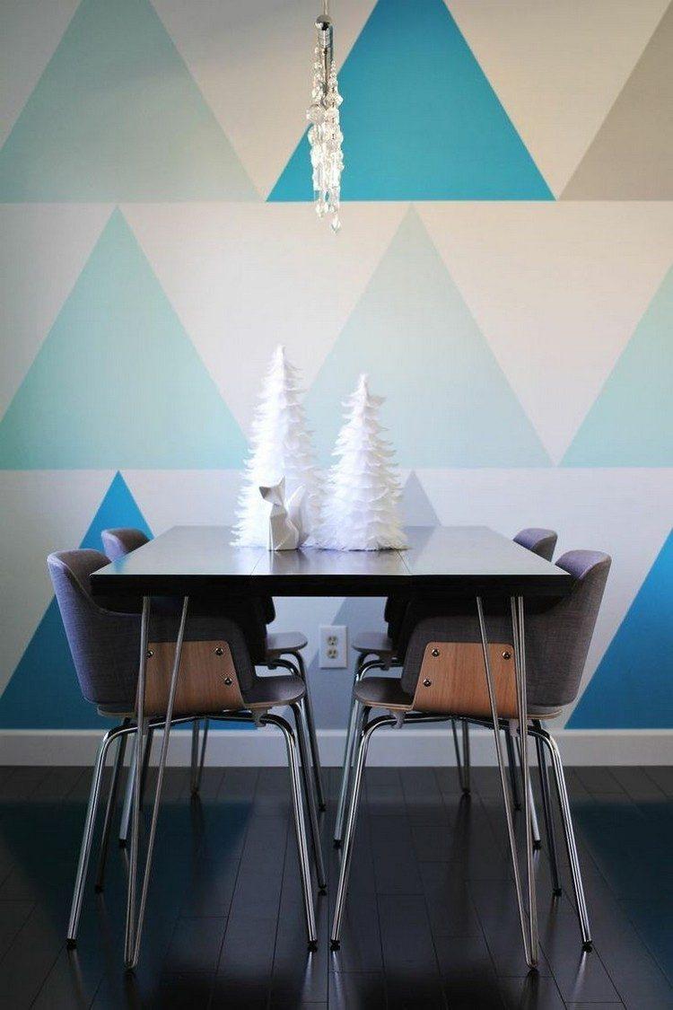 decoracion de paredes comedor triangulos