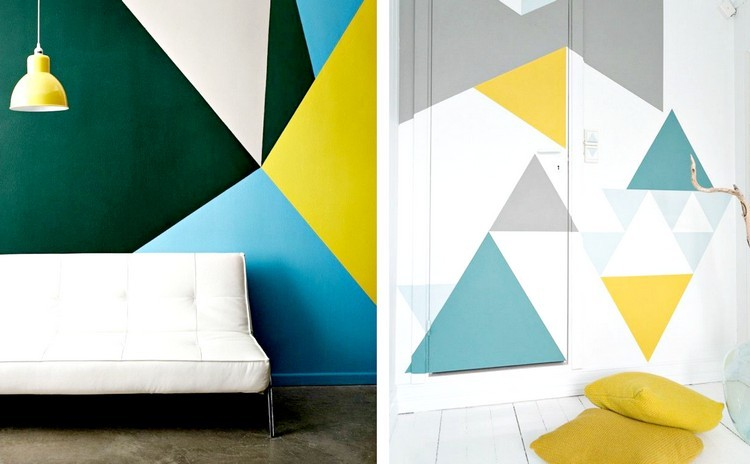 decorar paredes triangulos colores