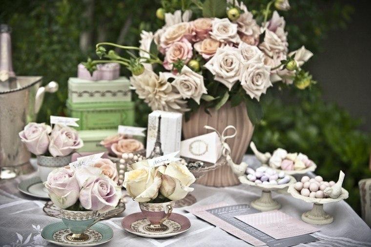 decorar rosas mesa bodas