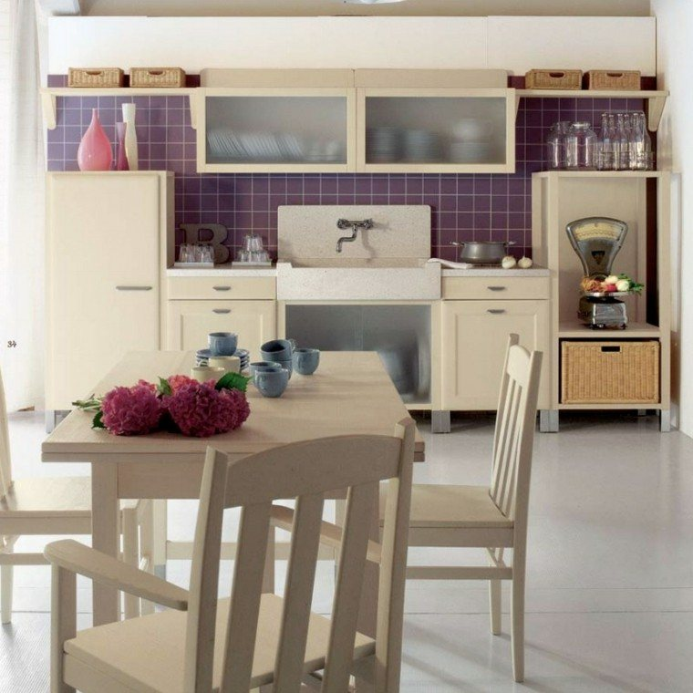 decoracion cocinas ideas cristal flores