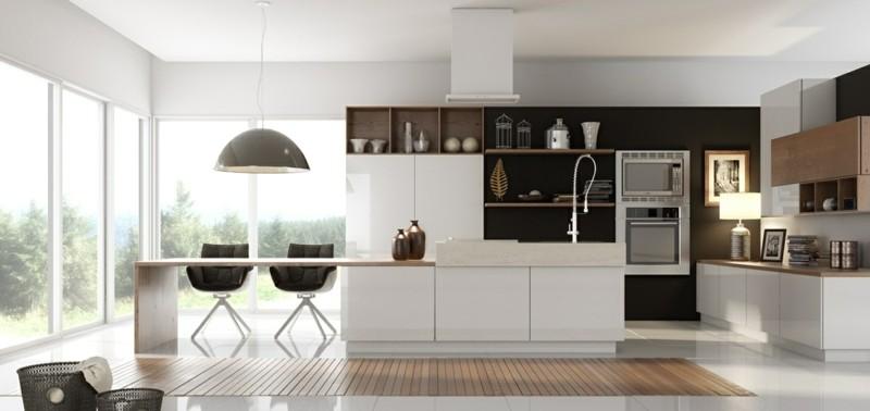 decoración de cocinas modernas abierta isla blanca ideas