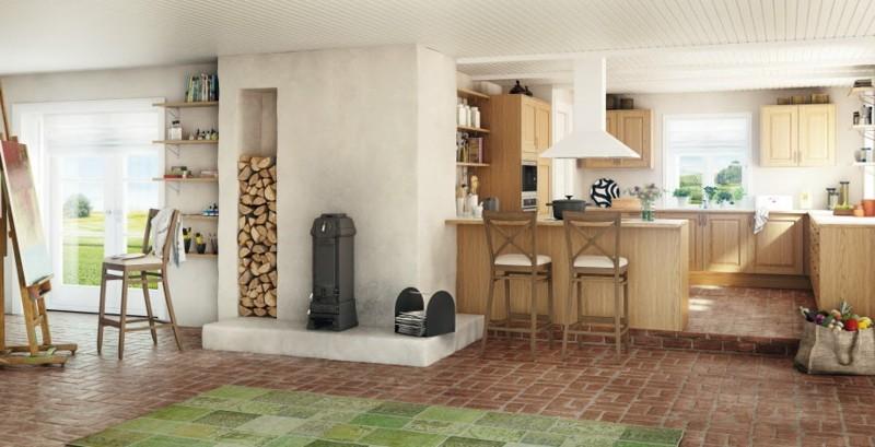 decoración de cocinas modernas alfombra verde ideas