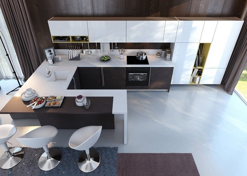 decoración de cocinas modernas barra desayunos ideas
