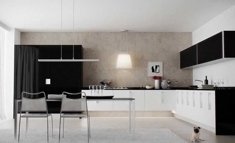 decoración de cocinas modernas blanco negro ideas