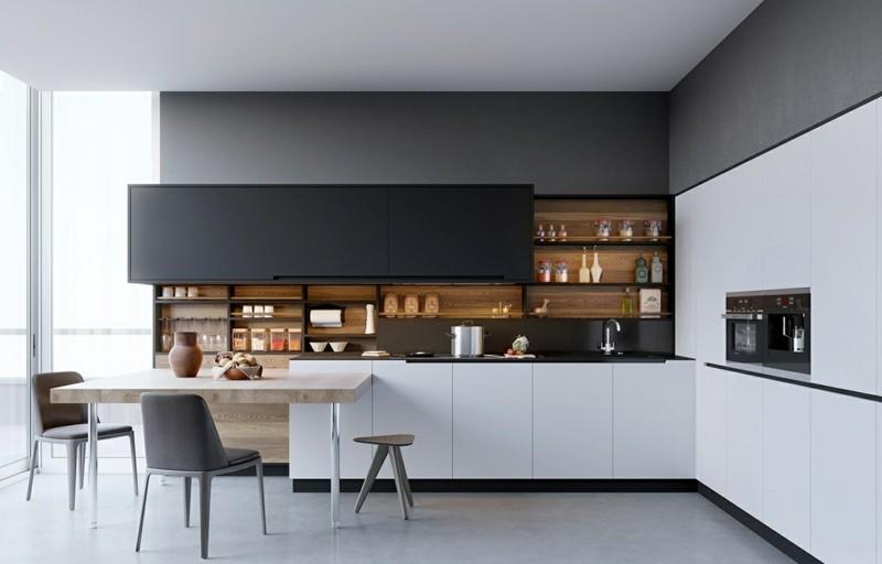 decoración de cocinas modernas estantes ideas
