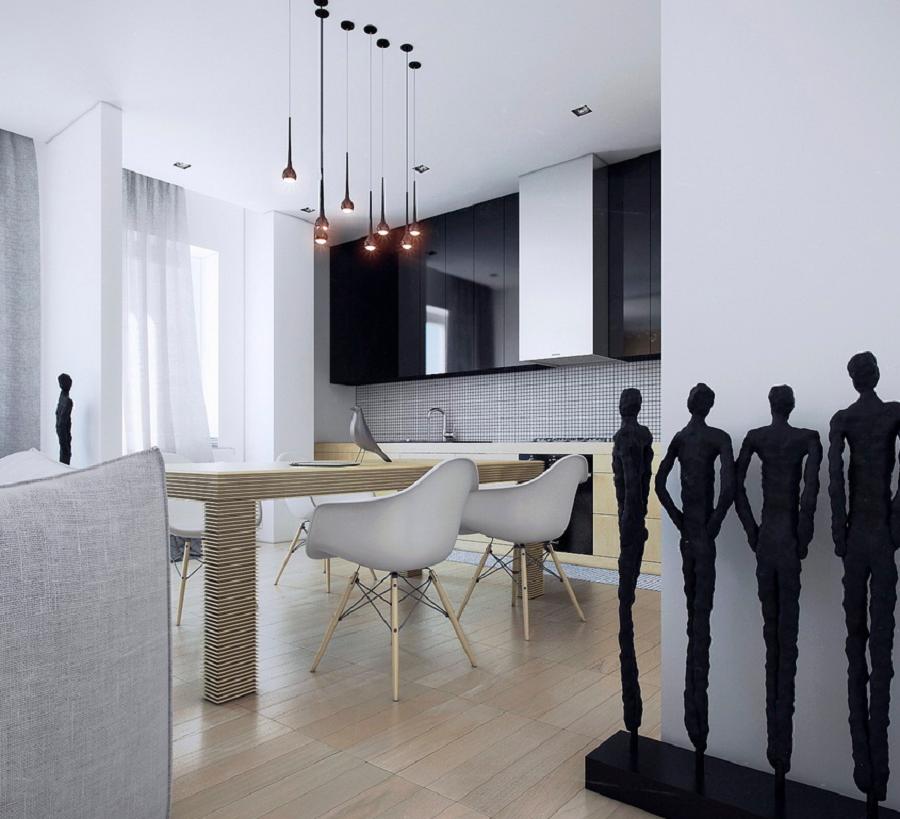 decoracion cocinas modernas estatuas negras ideas