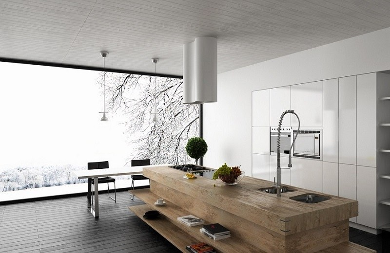 decoración de cocinas modernas isla madera ideas