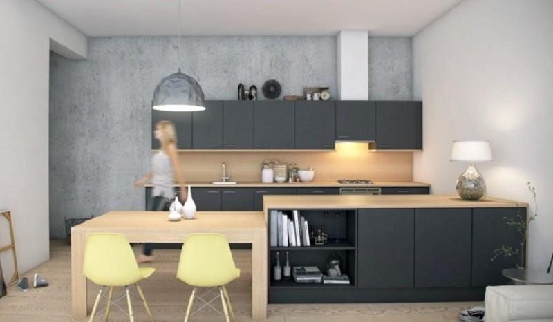 decoracion cocinas modernas sillas amarillas ideas