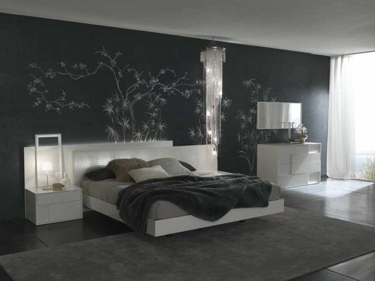 decoracion de dormitorios lamparas paredes oscuro