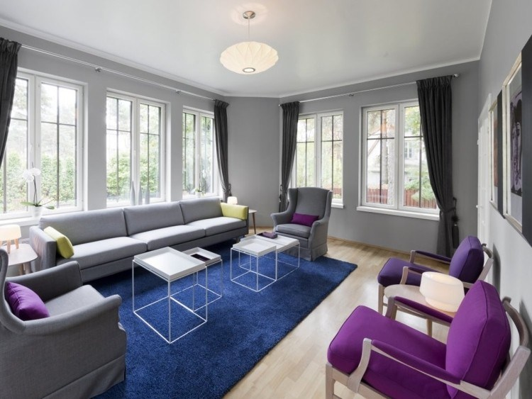 decoracion de interiores salones acogedores alfombra azul ideas